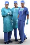 Młodzi przystojni chirurdzy w specjalnym stroju odizolowywającym Obraz Stock