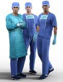 Młodzi przystojni chirurdzy w specjalnym stroju odizolowywającym Zdjęcie Royalty Free