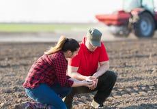 Młodzi rolnicy examing uprawianych pszenicznych pola fotografia stock