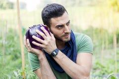 Młodzi rolników spojrzenia przy purpurową oberżyną w jego ogródzie Zdjęcie Royalty Free