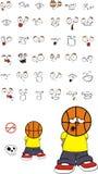 Młodzi smutni koszykówki głowy dzieciaka kreskówki wyrażenia ustawiający Obraz Royalty Free