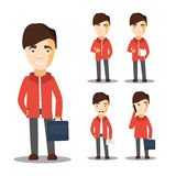 Młodzi studenccy charaktery Rozochocony mężczyzna wektor Ilustracji