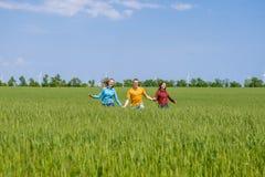 Młodzi szczęśliwi przyjaciele biega na zielonym pszenicznym polu Zdjęcia Stock