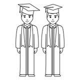 Młodzi ucznie kończyli studia różnorodność charaktery ilustracja wektor
