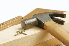Młot i narzędzia cieśla Fotografia Stock