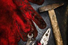 Młot, rękawiczki i wyrwania, Obraz Stock