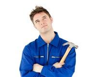 młoteczkowego mienia męski rozważny pracownik Obraz Royalty Free