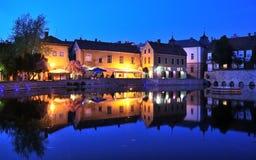 Młyński jezioro przy nocą, Tapolca w Węgry Obraz Royalty Free