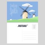 Młyny w Hiszpania wektorowym pocztówkowym szablonie royalty ilustracja