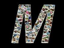 M信函-旅行照片拼贴画  图库摄影
