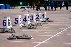 100m启动妇女 免版税图库摄影