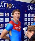 110 m的谢尔盖Shubenkov优胜者 在DecaNation国际室外游戏的障碍 免版税库存照片