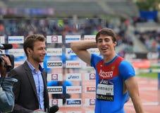110 m的谢尔盖Shubenkov优胜者 障碍 免版税库存图片