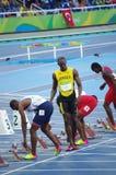 100m起动线的尤塞恩・博尔特在Rio2016奥林匹克 免版税库存照片