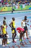100m起动线的尤塞恩・博尔特在Rio2016奥林匹克 免版税图库摄影