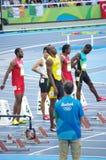 100m起动线的尤塞恩・博尔特在Rio2016奥林匹克 库存照片