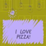 M'écrivant à note montrant aime la pizza Photo d'affaires présentant pour aimer la nourriture beaucoup italienne avec des peppero illustration stock
