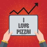 M'écrivant à note montrant aime la pizza Photo d'affaires présentant pour aimer la nourriture beaucoup italienne avec des peppero illustration libre de droits
