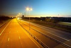 M6 δρόμος φόρου στο σούρουπο, Cannock Στοκ φωτογραφία με δικαίωμα ελεύθερης χρήσης