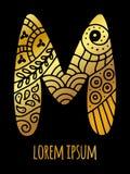 ` ` M письма мозаики нарисованное рукой Стоковые Фотографии RF