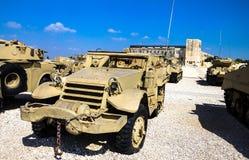 M3在显示的半轨载体在Latrun的Yad LaShiryon装甲的军团博物馆 以色列 免版税库存照片