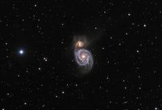 M51旋涡星系真正的照片 免版税库存照片