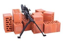 M60有amminition磁带的机枪 免版税库存照片