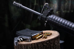 M-16 weapon. M-16 ammo and weapon Stock Photos
