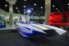 M-31 boat on display at the Los Angeles Boat Show on February 7, Royalty Free Stock Images