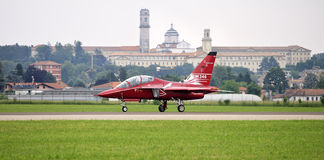 M-346 Master military advanced jet trainer. VARESE, ITA - MAY 14 - M-346 Master military advanced jet trainer preparing to take-off at Varese Airshow, 14 May Stock Photo