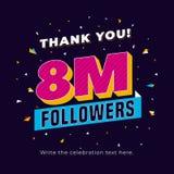 8m aanhangers, acht miljoen aanhangers sociaal media postmalplaatje als achtergrond Het creatieve ontwerp van de vieringstypograf vector illustratie
