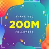 200M of 200000000, aanhangers danken u kleurrijk geometrisch aantal als achtergrond samenvatting voor Sociale Netwerkvrienden, aa vector illustratie