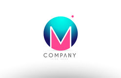 M alphabet 3d sphere letter blue pink logo icon design. M alphabet logo 3d blue sphere letter blue pink  creative company icon design template modern Stock Photography