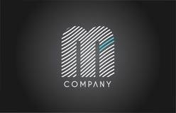 M alphabet line stripe white blue letter logo icon design Stock Photos