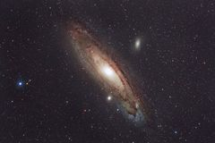 M31 Andromeda Galaxy. Imaged with a telescope and a scientific CCD camera royalty free stock photography