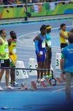100m Athleten stockfotos