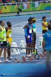 100m atleten Stock Foto's
