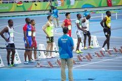 100m atleten Royalty-vrije Stock Afbeeldingen