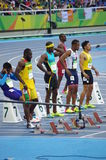 100m atleten Royalty-vrije Stock Foto's