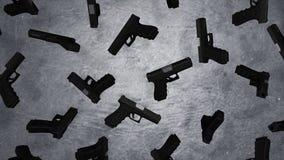 9m m automáticos pistola de la arma de mano en fondo de la pared del cemento Pistolas en el muro de cemento animación Imágenes de archivo libres de regalías