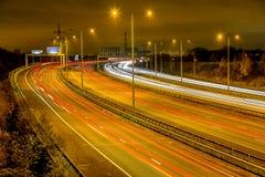 M60 Autosnelweg, naast het Park van het Verkoopwater (Manchester, het UK) Royalty-vrije Stock Foto's