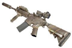 M4 avec les forces spéciales de dispositif antiparasite fusillent d'isolement sur un fond blanc Photographie stock libre de droits