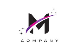 M Black Letter Logo Design avec le bruissement magenta pourpre Photo stock