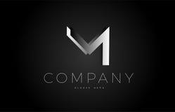 M black white silver letter logo design icon alphabet 3d Stock Image