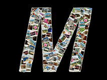 M-bokstav - collage av loppfoto Arkivbild