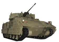 M2 Bradley Fighting Vehicle in Camouflage Green. Royalty Free Stock Photo