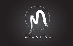 M Brush Letter Logo Design Lettres manuscrites artistiques Logo Co Photographie stock libre de droits