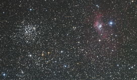 M52 and Bubble nebula Stock Photos
