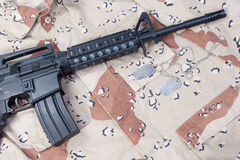 M4 carbine with blank dog tags Stock Photography