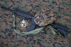 M4 carbine and blank dog tags Stock Image